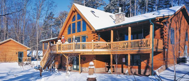 Lake Log Home in Winter