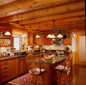Log Home Kitchen Design With Everything Including The Kitchen Sink