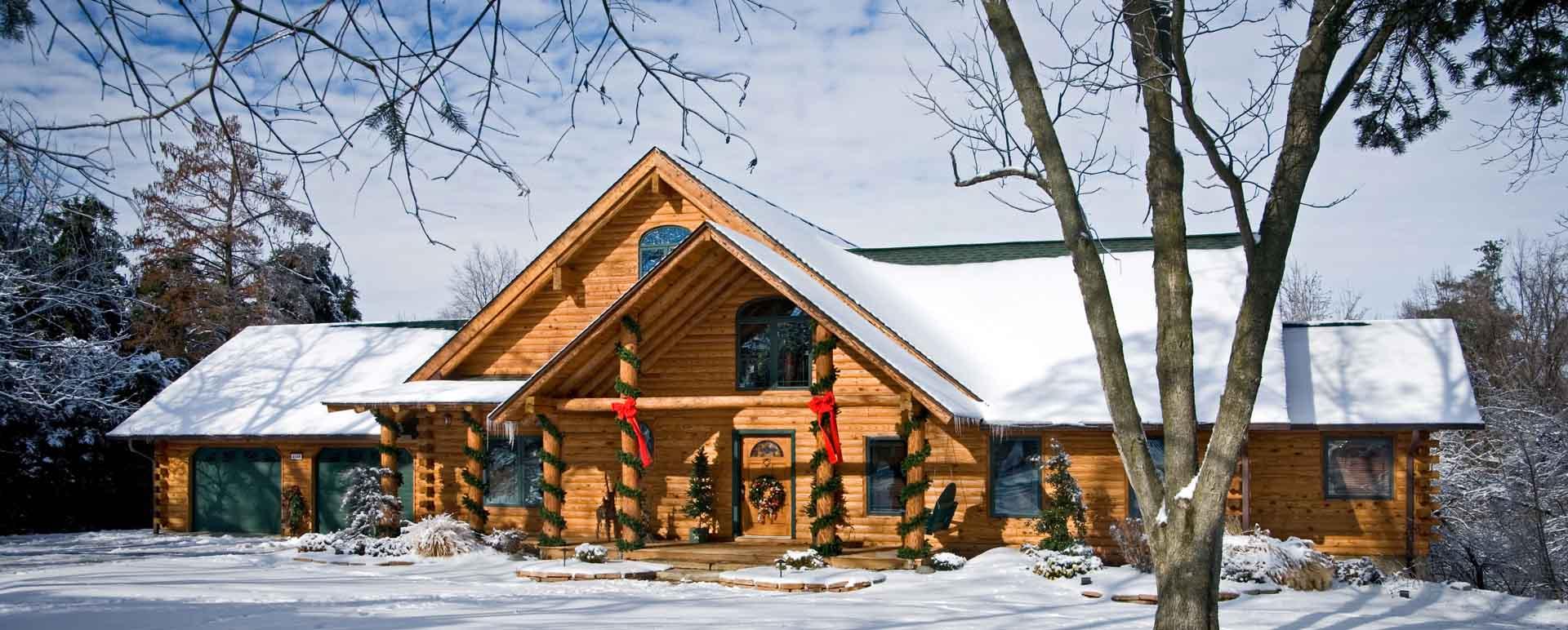 Snowy Illinois Log Cabin