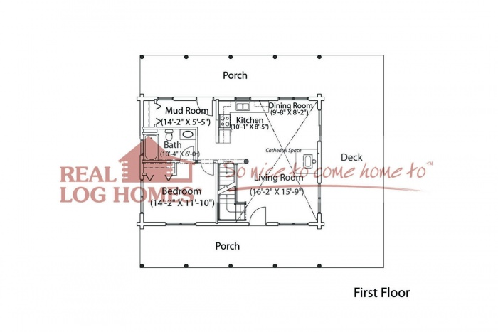 1 bedroom log home floor plan real log homes for Real log homes floor plans
