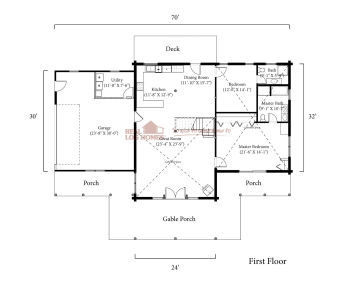 Mountain home ar l12013 real log homes for Real log homes floor plans