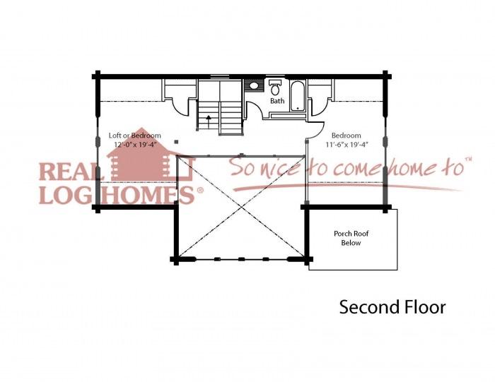 2 bedroom log home floor plan real log homes for Real log homes floor plans