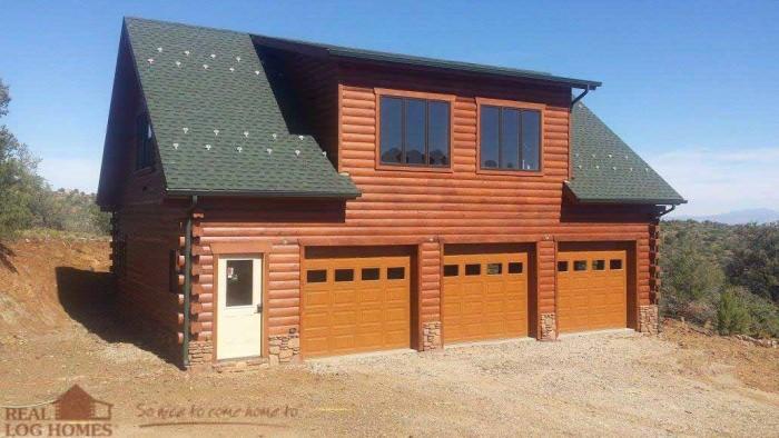 Prescott Az Real Log Homes Arizona Log Home Garage