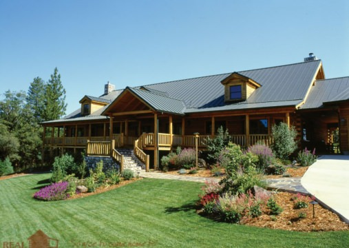 Residential real log homes for Weekend cabin floor plans