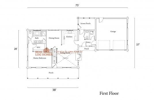 Sudbury vt 10564 real log homes floor plan for Real log homes floor plans