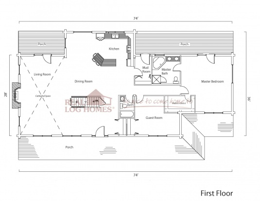 Great house ky 6471 real log homes floor plan for Real log homes floor plans