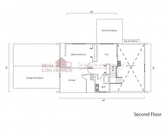 Whiting vt 6477 real log homes floor plan for Real log homes floor plans