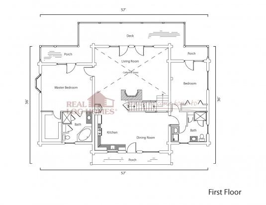 Moultonborough nh 8108 real log homes floor plan for Real log homes floor plans