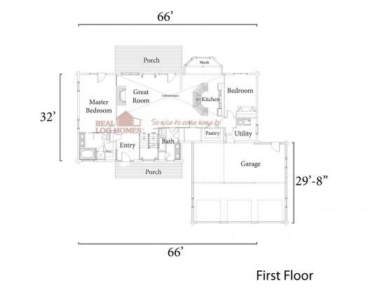 Table rock lake mo 9611 real log homes floor plan for Real log homes floor plans