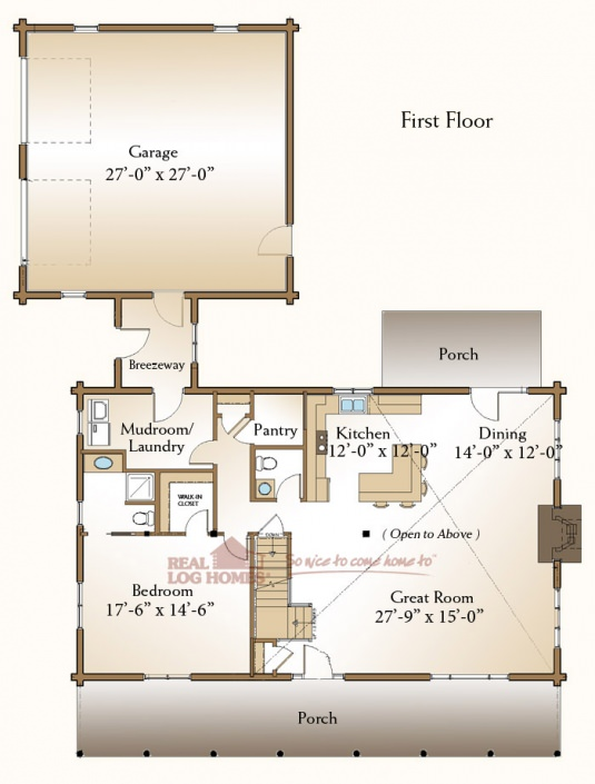The Covington Real Log Homes Floor Plan