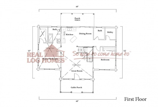 Louisville ky l10975 real log homes floor plan for Real log homes floor plans
