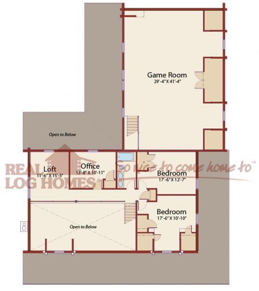 The new castle de l11293 real log homes floor plan for Real log homes floor plans