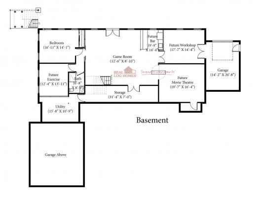 Rye nh l12380 real log homes floor plan for Real log homes floor plans