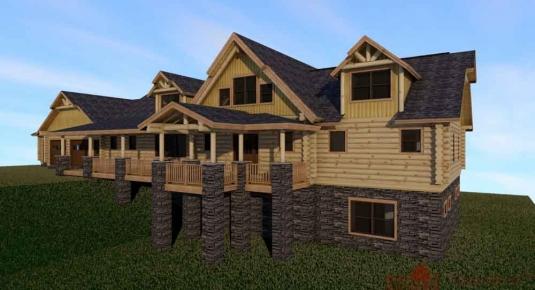 Lake martin al l12489 real log homes floor plan for Real log homes floor plans