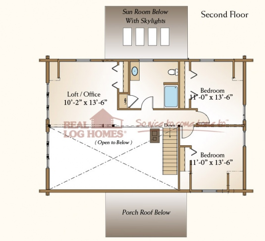 Mendon model home 03w0022 real log homes floor plan for Real log homes floor plans