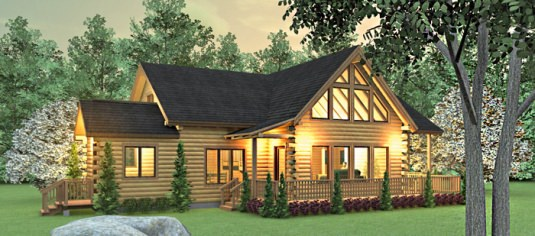 Middleton 03w0031 real log homes floor plan for Modern log home plans