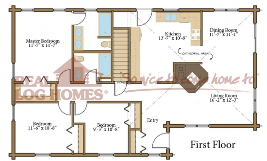 Madison 03w0005 real log homes floor plan for Real log homes floor plans