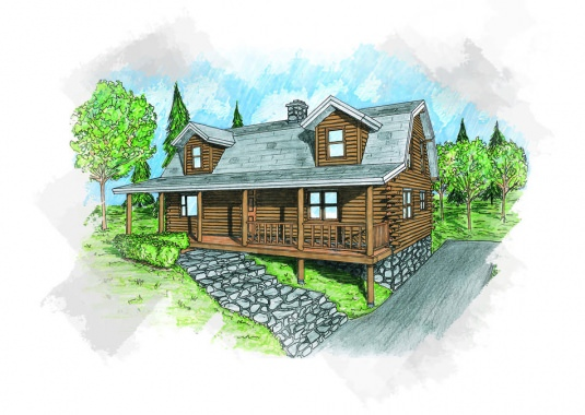 The newport real log homes floor plan for Real log homes floor plans