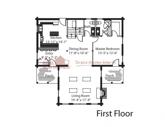 The ozark real log homes floor plan for Real log homes floor plans