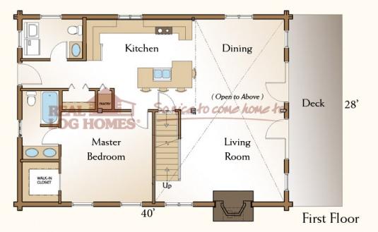 Piedmont 03w0018 real log homes floor plan for Real log homes floor plans