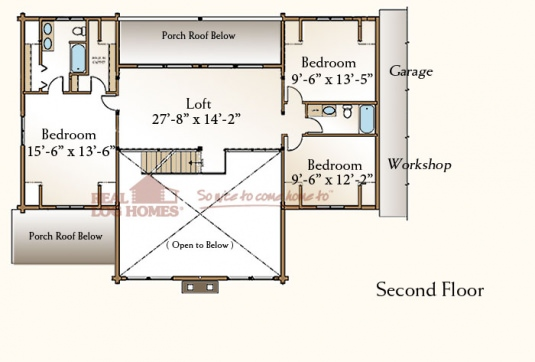 The stonington 03w0033 real log homes floor plan for Real log homes floor plans