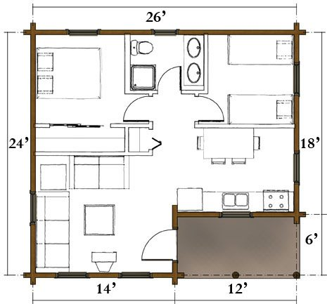 The voyager real log homes floor plan for Real log homes floor plans