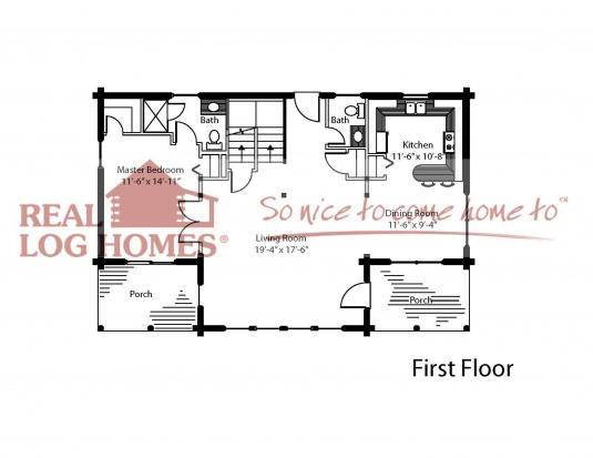 The crystal lake real log homes floor plan for Real log homes floor plans