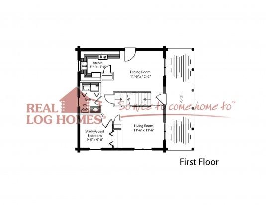 The deerfield real log homes floor plan for Real log homes floor plans