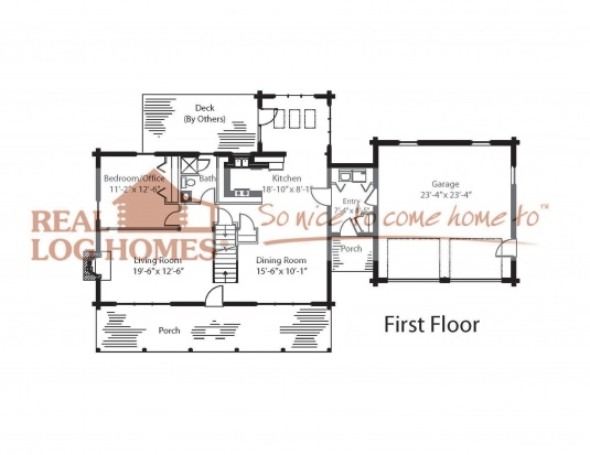 The hamilton 03w0021 real log homes floor plan for Real log homes floor plans