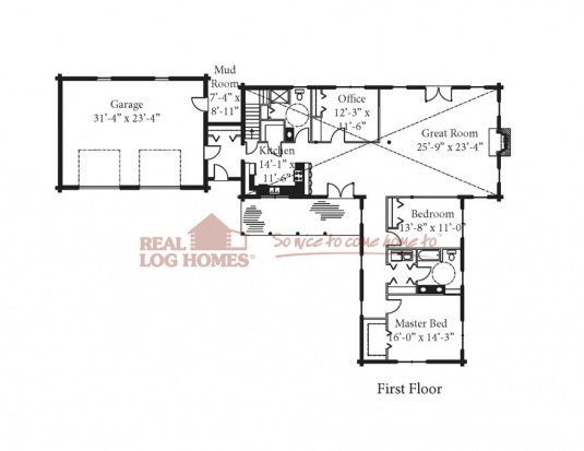 The kearney 03w0006 real log homes floor plan for Real log homes floor plans
